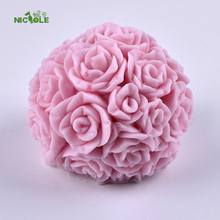 Nicole Silicone Soap Candle Mold 3D Rose Ball Shape DIY Handmade Resin Clay Craft Mould(China)