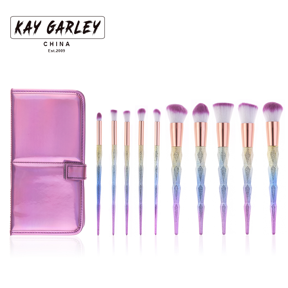 10pcs diamond makeup brush set with pu leather velcro straps bag color pink foundation powder eyeliner eyebrow cosmetic brush<br>