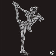 2pc/lot Ice Skate Hotfix hot fix rhinestone transfer motifs iron on design rhinestone applique patch for shirt(China)