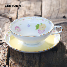 180ml European Bone China Flowers Coffee Cup Set Ceramics Golden Edge Porcelain Cup and Saucer Afternoon Tea Cup Milk Latte Mug