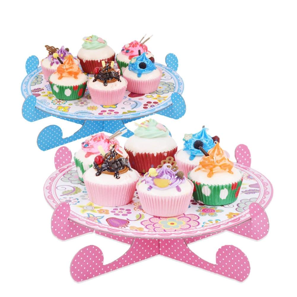 Expediate 3 Tier Cupcake Stand Cardboard Pink Polka Dot Wedding Party Cake