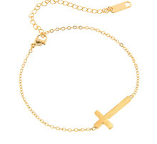 B008 Jesus Christian Stainless Steel Cross Bracelet Men's Women Sideways Charm Gold Color Chain Fashion Brand Jewelry