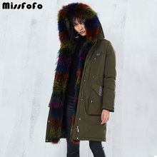 MissFoFo 2017 Winter Cotton Parka 11.11 Global Shopping Festival Long Green Jacket Women Warm Outwear Real Fur(China)