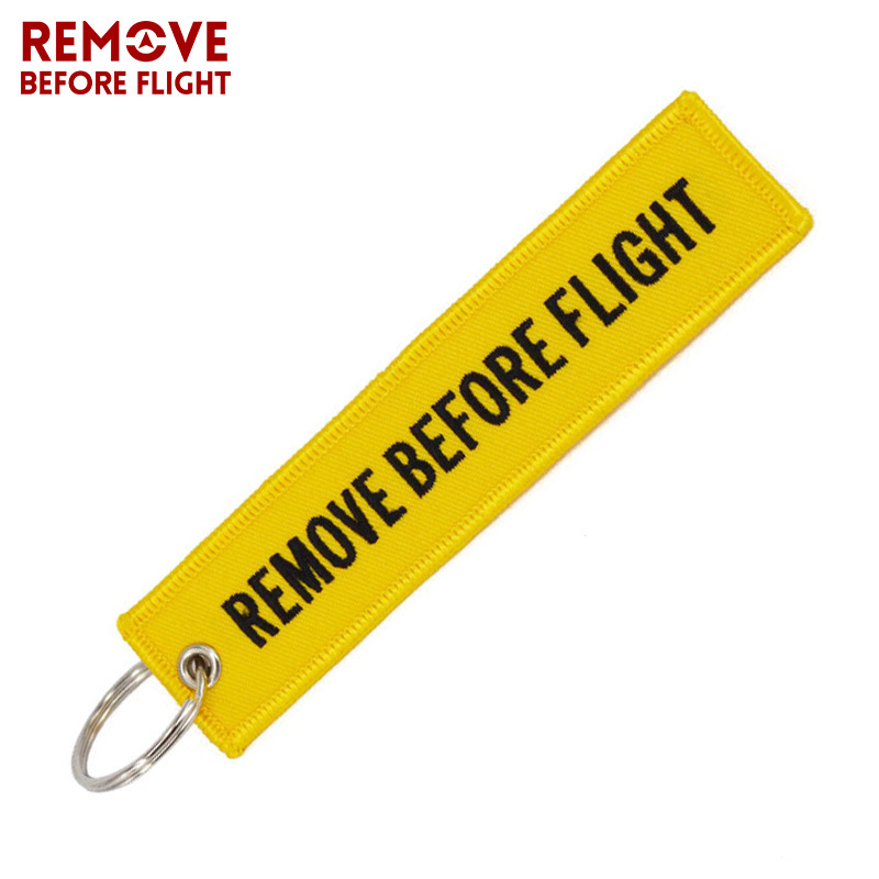 Remove Before Flight Key Fob llaveros Important Things Tag Yellow Embroidery OEM  Key Chian Jewelry Aviation Gifts llavero mujer (3)
