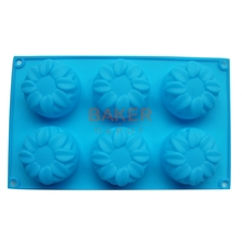 Supply 6 lattices sunflowers Sunrise flower silicone cake mold handmade soap mold jelly mould chocolate molds SSCM-001-5(China)