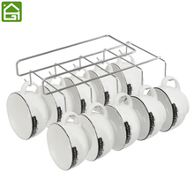 Iron Cup Hanging Holder Under Cupboard Shelf Coffee Cup Hooks Cabinet Glass Mug Drinkware Organizer with 10 Hooks