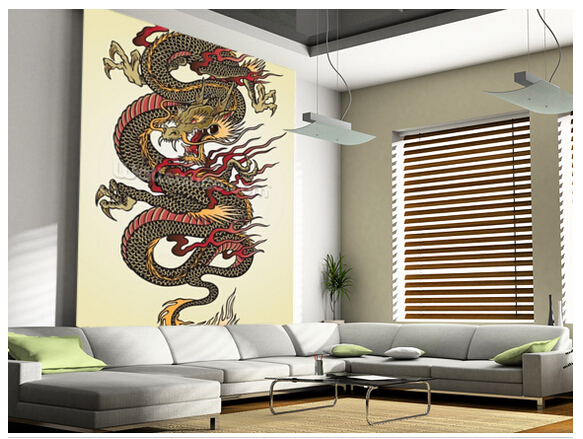 Custom 3D art paper. Dragon Tattoo Asian mural for the living room bedroom dining background wall vinyl papel de parede <br>