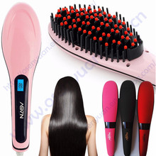 100% original electric cheap NASV hair straightener brush digital hair straightening comb with FCC certification(China)