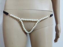 Buy Sexy white beads g-strings body harness panties punk waist chain necklaces party dresses decorations fetish wear L0005
