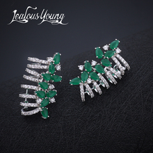 2017 New Arrival Fashion Green Marquise Stud Earrings For Women Charm Party Wedding Vintageearings Earings Fashion Jewelry AE285(China)