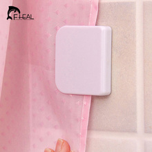 FHEAL Shower Curtain Clip Bathroom Curtain Buckle Viscose Fixed Hook Seamless Sticky Hooks Prevent Curtain Moving Bathroom Tool(China)