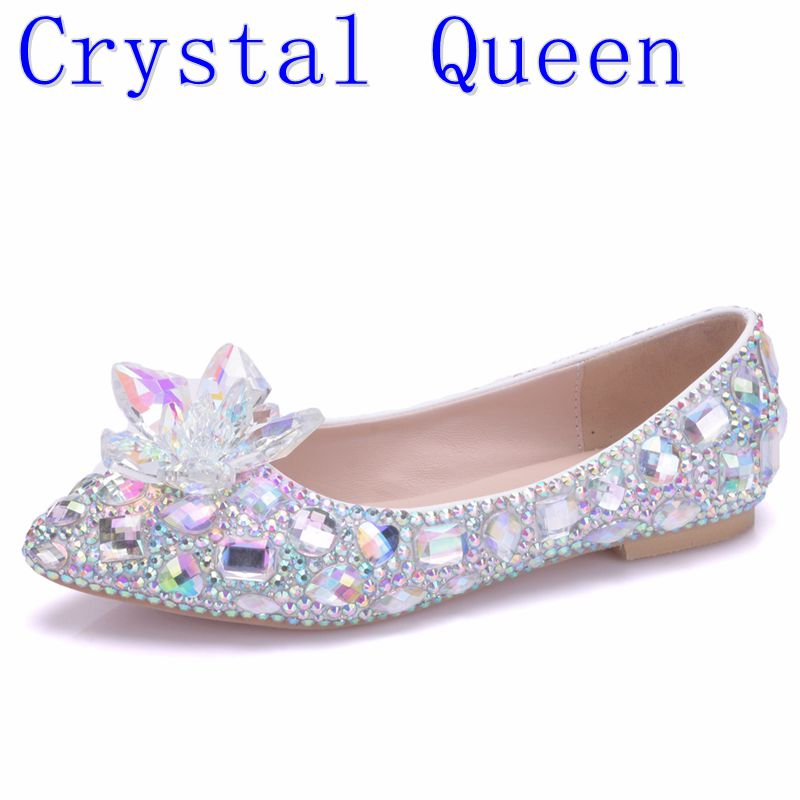 Wedding Flats Women Shoes Cinderella-Shoes Rhinestone Crystle Big-Size Woman Sexy Mujer title=