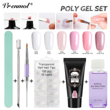 Vrenmol 6pcs Polygel Quick Extension Sets Nail Fast Builder Poly Gel Nail Art Kits UV LED Gel Varnish Manicure Tools Kits(China)