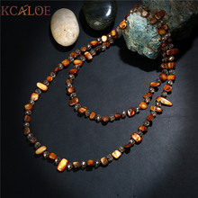 KCALOE Statement Long Necklace Fashion Dual Use Austrian Crystal Brown Natural Shell Stone Handmade Women Necklaces & Pendants(China)