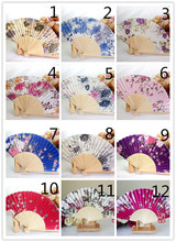 New Chinese Japanese Vintage Fancy Folding Fan Hand Wooden Lace Silk Flower Dance Fans Party Supplies For Gift(China)