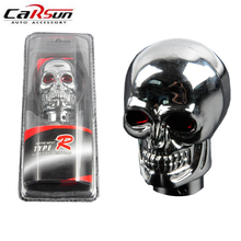 Universal Car Styling Chrome Skull Gear Shift Knob Manual Shift Lever Knob Red Eyes Car interior Accessories Decoration