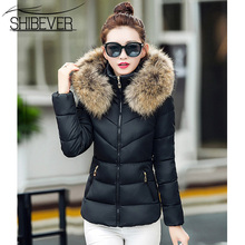 Buy SHIBEVER Women Winter Short Jacket Basic Warm Slim Casual Fur Parka Cotton Outwear Hooded Jackets Female New Fashion Coat BHJ633 for $26.62 in AliExpress store