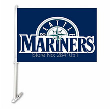 "2PC Seattle Mariners Baseball Car Flag 12""x18"" Custom USA Any Team Car Flag"