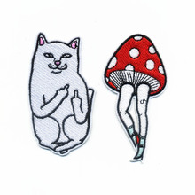 New Down pilot Jacket Delicate Fashion Embroidery Iron On Patches Animal White Cat mushroom Legs Motif Applique 2pcs for choose