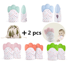 2PCS/One Pair Baby Teether Pacifier Glove With Travel Bag Natural Silicone Thumb Sound Teething Mitten Oral Care Dropshipping(China)