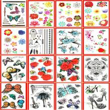 16pcs of carnival tattoos temporary henna 3d colorful flower butterful desing for easter halloween new year christmas birthday