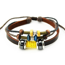 Lace_up Leather Bracelets Yellow Wood Bead Punk style Men's Jewelry Bracelets(China)
