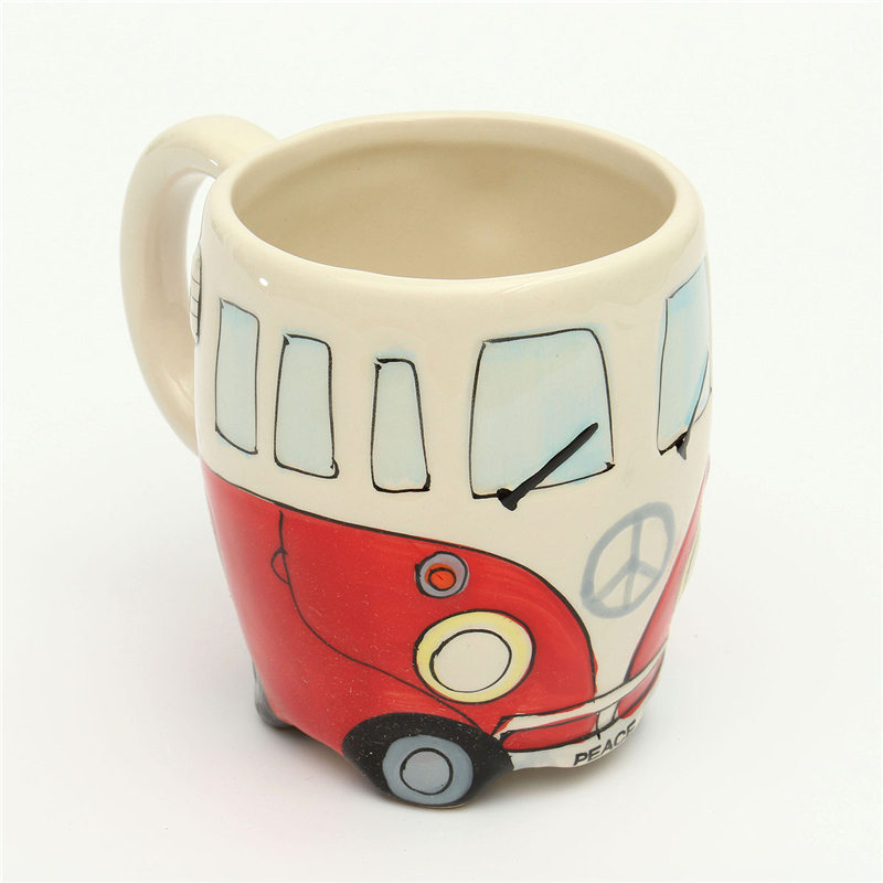 Cute Originality Ceramic Cups Hand Painting Retro Double Decker Bus Mug Coffee Milk Tea Cup Water Bottle Drinkware Gift(China (Mainland))