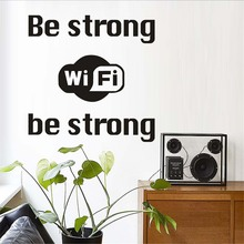 Be Strong Wifi Logo Wall Sticker Shop Window Internet Wifi Vinyl Wall Decal Business Home Decoration Accessories(China)