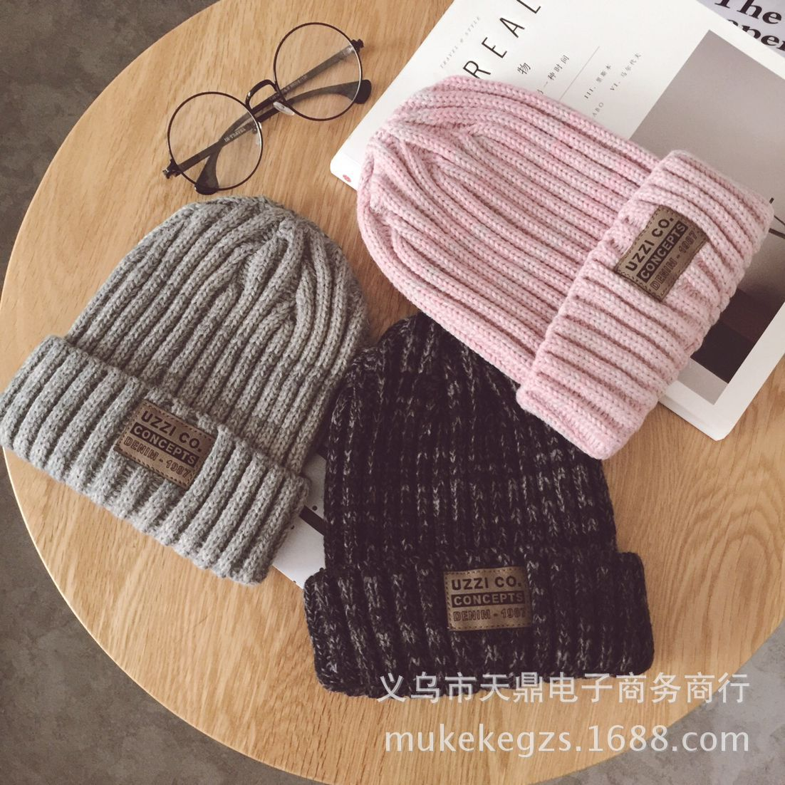 Knit Beanies Caps Winter Hats Twist-Thread Girl Women Fashion Children Thick Artificial title=