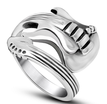 Punk Style Bright Glazed Guitar Ring 316L Titanium Steel Silver Rock Guitar Rings Vintage Guitar Sculpt Wedding Band Jewelry