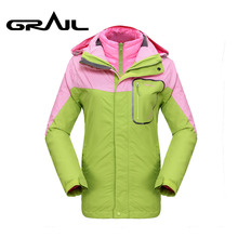 GRAIL Outdoor Hiking Jackets Women 2 in 1 Double Layer Sport Ski Jacket for Camping Hiking Climbing 2098A(China)
