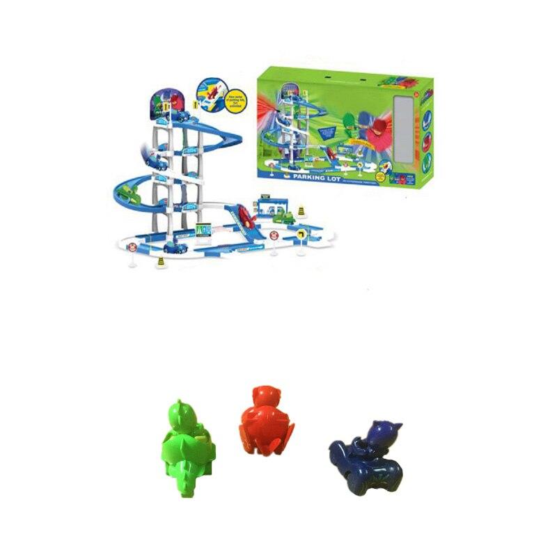 Les Enfants PJ 4 Floor Racing Maskmm Track Figure Toy Anime PJ Parking Lot Connor Greg Amaya Jouet Children Christmas Gift<br>