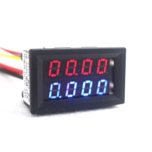 Digital DC 200V 0-10A Voltmeter Ammeter Red Blue LED Dual Display Voltage Current Meter Detector Indicator Power Supply DC4V-28V