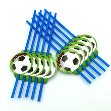 10pcs football straw kids birthday wedding party supplies football paper straw happy birthday party supplies(China)