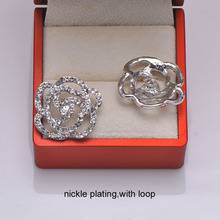 (L0108) free shipping 20pcs/lot, 25mm ,rhinestone button with loop at back,nickle or gold plating