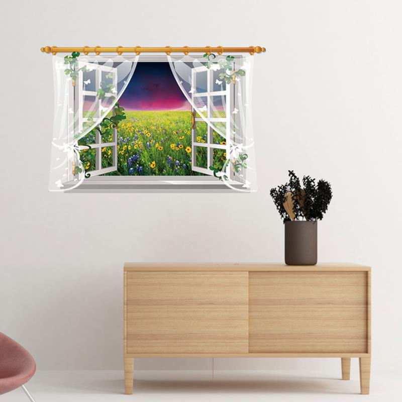 HTB1FRCAhv5TBuNjSspcxh6nGFXas - 3D Window View Nature Landscape Wall Sticker  For Living Room