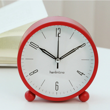 #a modern Clocks Mute Originality turn alarm clock Simple circular Bedroom Desk Table Clock Living Room Decoration Candy Color