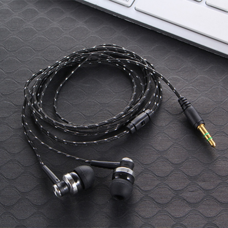 3.5mm Wiring Subwoofer Headset Ear Earpiece Braided Rope Wire Cloth Rope Earplug Noise Isolating Earphone for MP3 MP4