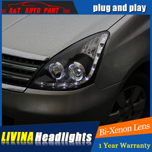 Auto Part Styling For Nissan Livina headlights DRL 2008-2011 For Nissan Livina LED light bar DRL Q5 bi xenon lens h7 xenon