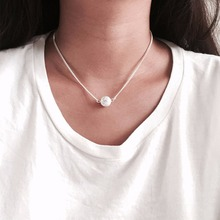 Hot Sale Fashion Round White Pendant Crystal Choker Necklace Statement Chain Women Jewelry #245049