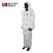 Ghillie Suit Sniper Camo Hunting Paintball Woodland 3D Military Snow White Camouflage Set 3D Bionic Clothes Ghillie Suits(China)
