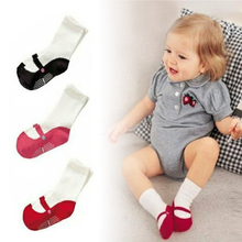 2 Pieces Baby Mid-calf Length Sock Infant Toddler Home Shoes Dancing Ballet Cotton Socks Breathable Princess Infant Beauty W7(China)