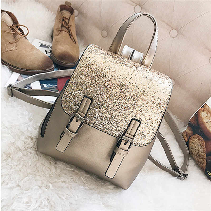 f151284817 Small Sequin Backpack Women Shoulder Bag Female Leather Schoolbag For Girls  Rucksack Teen Travel Daypack Gold