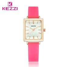 KEZZI Jelly Color Silicone Watches Top Brand Square Dial Women's Watch Ladies Dress Quartz Wristwatches Waterproof Clock Relogio