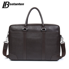BOSTANTEN Cow Genuine Leather bag Business Men bags Laptop Tote Briefcases Crossbody bags Shoulder Handbag Men's Messenger Bag