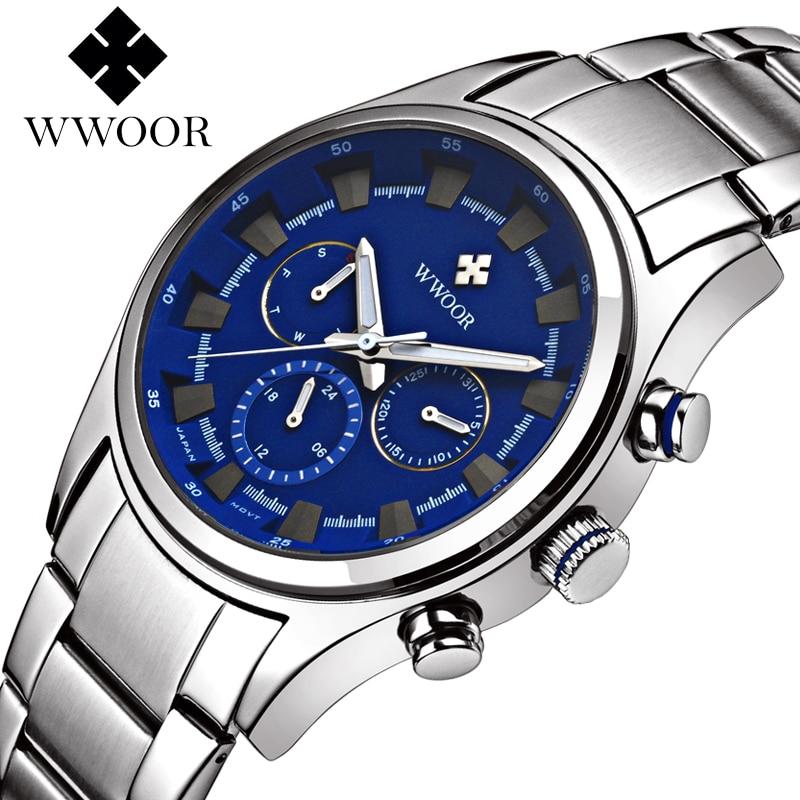 2016 New WWOOR Luxury Brand Quartz Watches Men Analog Chronograph Clock Men Sports Military Stainless Steel Fashion Wrist watch<br>