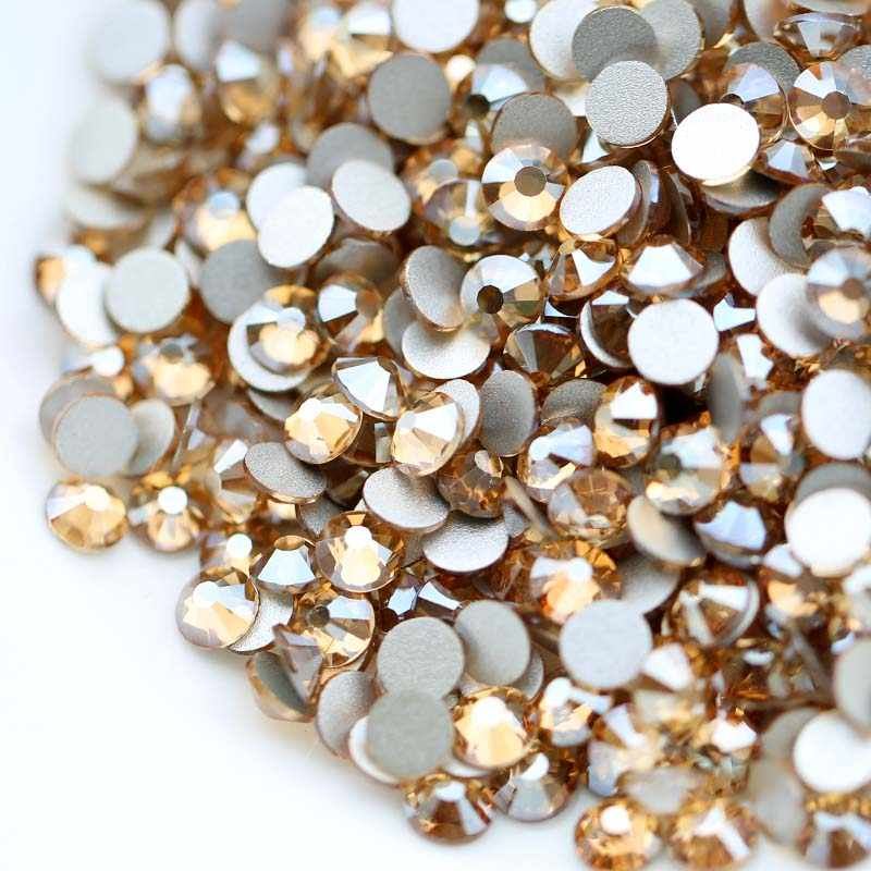 QIAO New Colors GSHA AB  Golden Shadow Non Hotfix Flatback Glue On Glass  Rhinestones Gem 448eb6b74954