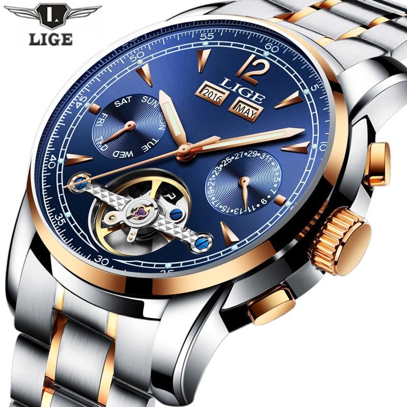 2017 Men Watches Skeleton Hollow Fashion Tourbillon Mechanical Hand Wind Mens LIGE Luxury Business all steel Strap Wrist Watch<br>