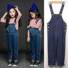 Child Enfant Kids Baby Girls Childrens Dungarees Denim Jeans Overalls Trousers Girl Kid Pants Costumes 2-8Y