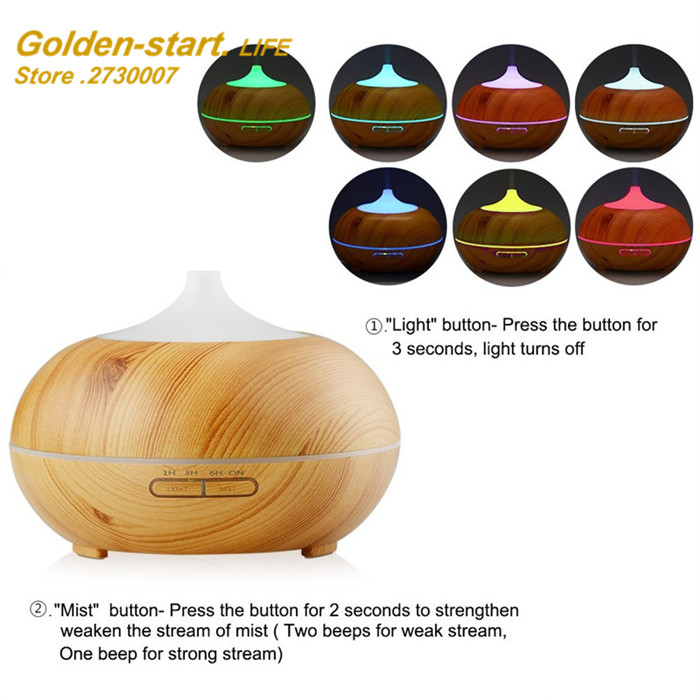 Difusor aroma Nebulizer Wood Grain Ultrasonic Air Humidifier Aroma Diffuser Aromatherapy Office Purifier Mist Maker<br>